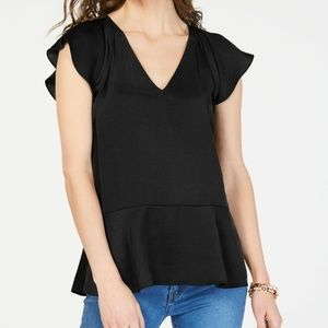 NWT $88 Michael Kors L Black Flutter Sleeve Top
